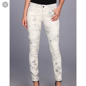 Joes Jeans cream and gray Tie Dye Skinny Jeans